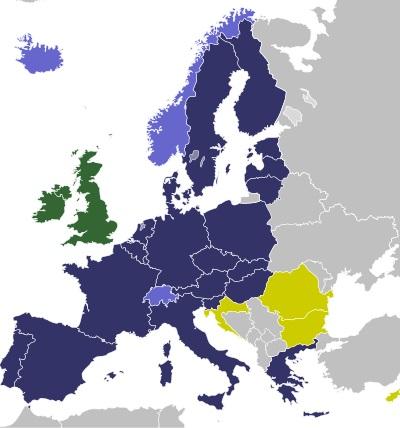 Schengeni országok térképe